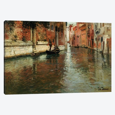 A Venetian Backwater  Canvas Print #BMN5530} by Fritz Thaulow Art Print
