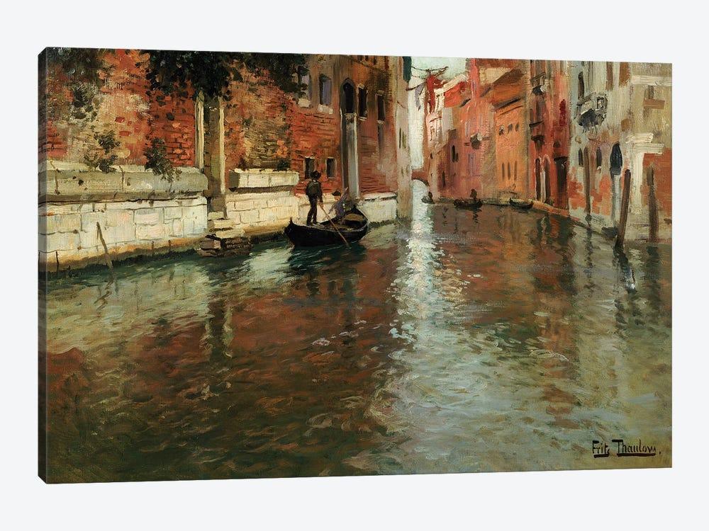 A Venetian Backwater  by Fritz Thaulow 1-piece Canvas Wall Art