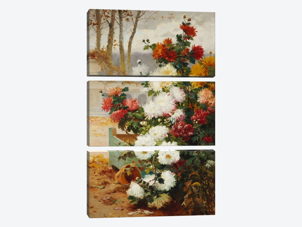 Chrysanthemums in a Walled Garden  by Eugene Henri Cauchois 3-piece Art Print