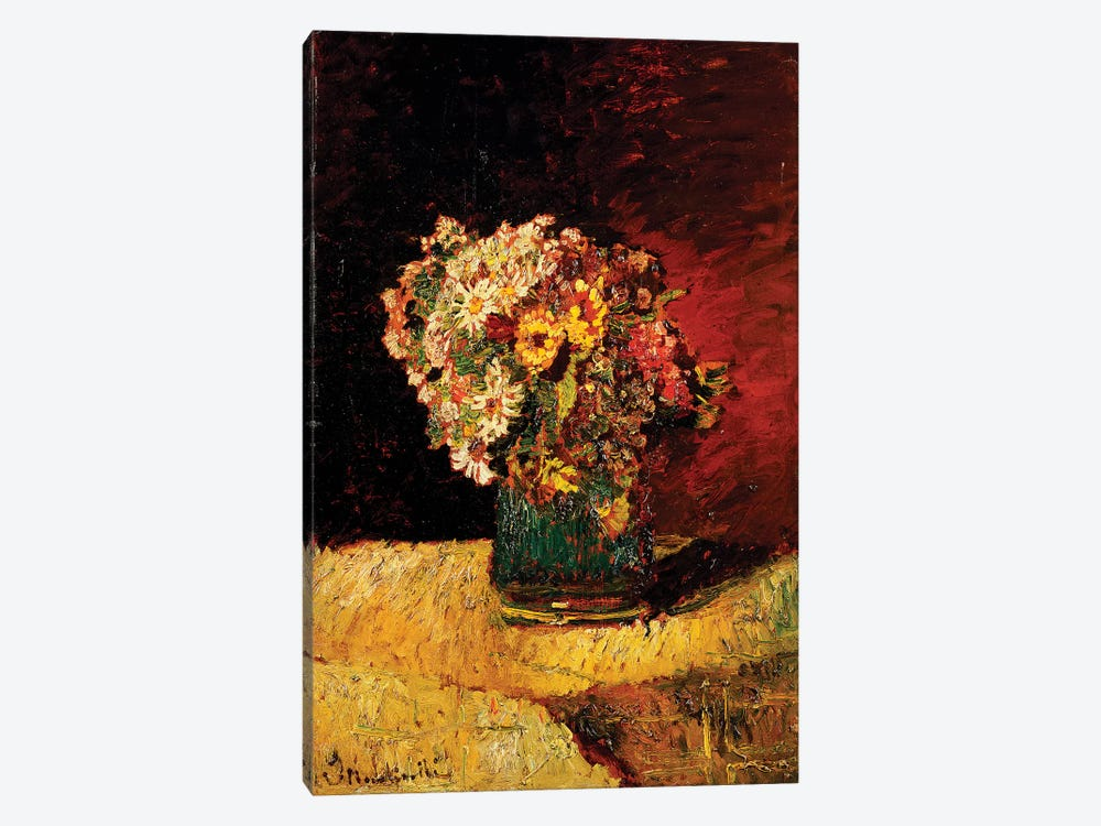 A Vase of Flowers  by Adolphe Joseph Thomas Monticelli 1-piece Canvas Print