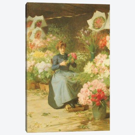 Flower Seller in front of the Madeleine Church  Canvas Print #BMN5542} by Victor Gabriel Gilbert Canvas Artwork