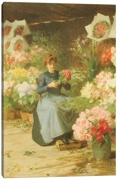 Flower Seller in front of the Madeleine Church  Canvas Art Print