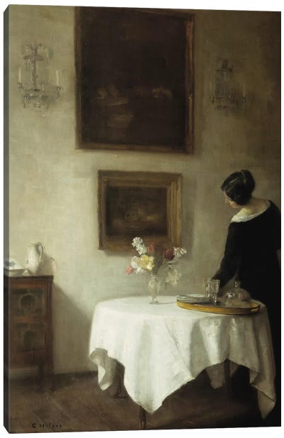 A Woman by a Dining Table Canvas Art Print
