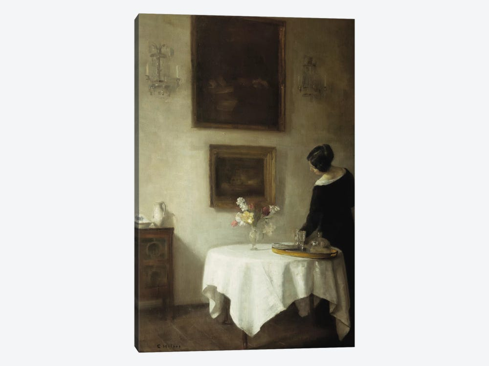 A Woman by a Dining Table  by Carl Holsoe 1-piece Canvas Art