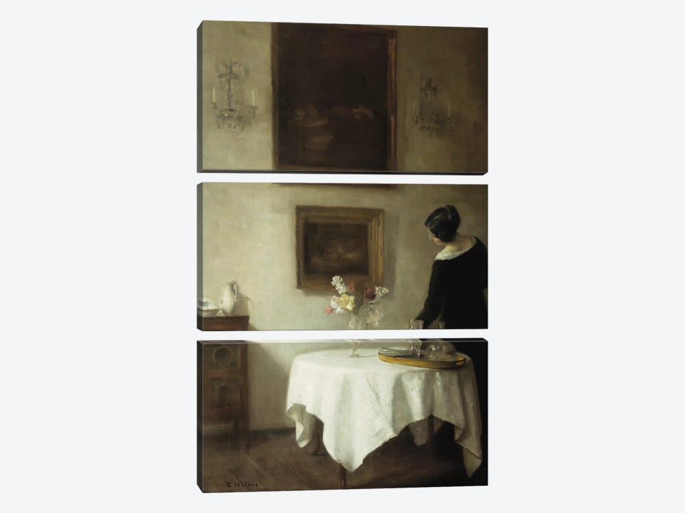 A Woman by a Dining Table  by Carl Holsoe 3-piece Canvas Wall Art