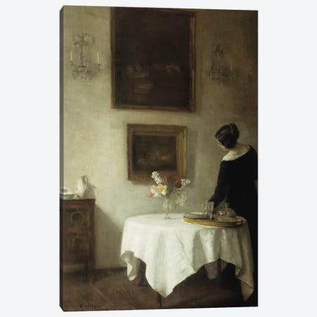 A Woman by a Dining Table  Canvas Print #BMN5543} by Carl Holsoe Canvas Wall Art