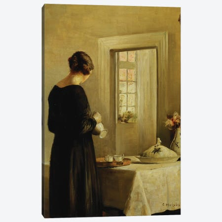 An Interior with a Woman at a Table  Canvas Print #BMN5544} by Carl Holsoe Canvas Art Print