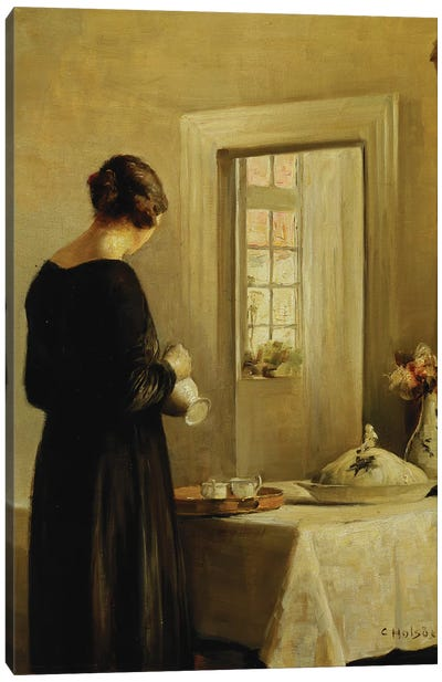 An Interior with a Woman at a Table  Canvas Art Print