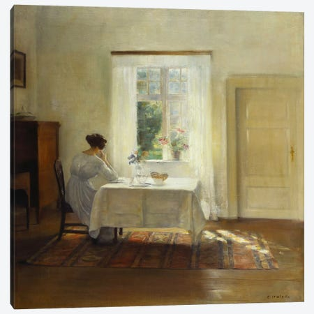 A Woman Seated at a Table by a Window  Canvas Print #BMN5546} by Carl Holsoe Canvas Print