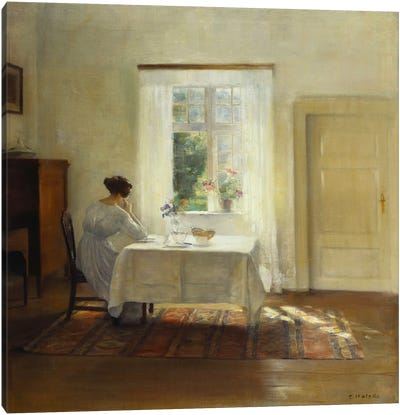 A Woman Seated at a Table by a Window  Canvas Art Print