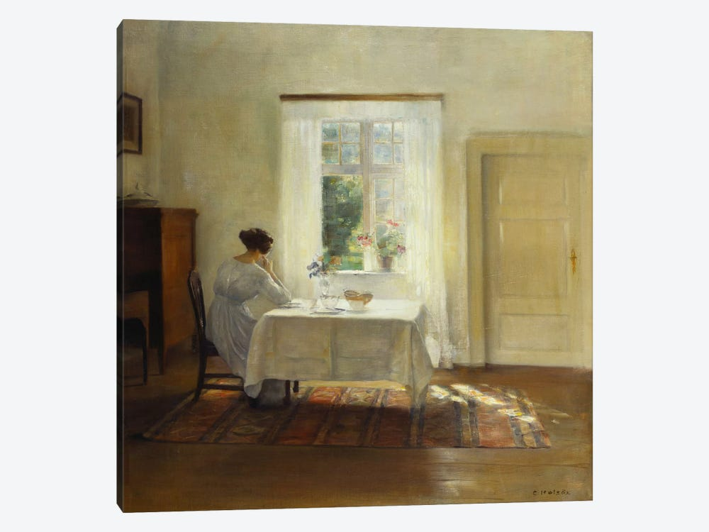 A Woman Seated at a Table by a Window by Carl Holsoe 1-piece Canvas Art Print
