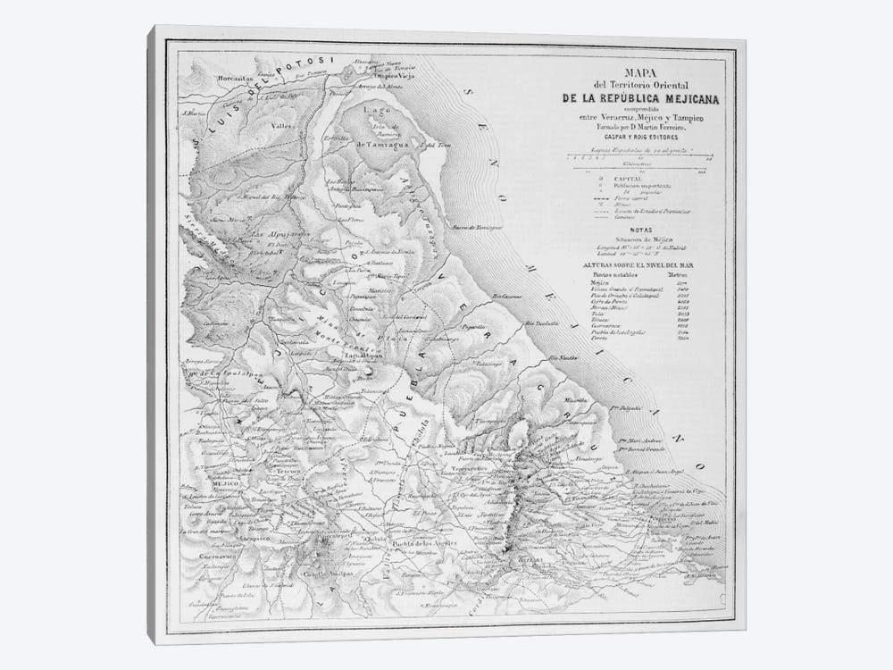 Map of the eatern territories of the Republic of Mexico as they were in 1862, from 'The Universal Museum', published 1862  by Spanish School 1-piece Canvas Wall Art