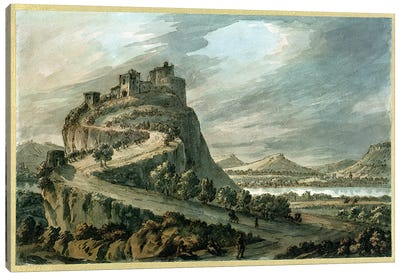 Rocky landscape with castle Canvas Art Print