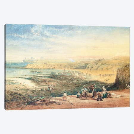 Cullercoats looking towards Tynemouth, Northumberland, with fisherfolk in the foreground, 1836  Canvas Print #BMN5552} by John Wilson Carmichael Canvas Art Print
