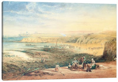 Cullercoats looking towards Tynemouth, Northumberland, with fisherfolk in the foreground, 1836  Canvas Art Print