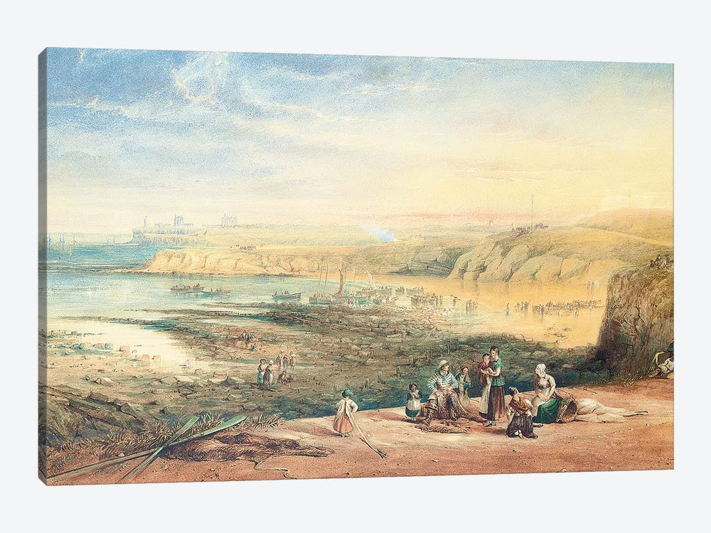 Cullercoats looking towards Tynemouth, Northumberland, with fisherfolk in the foreground, 1836  by John Wilson Carmichael 1-piece Canvas Artwork