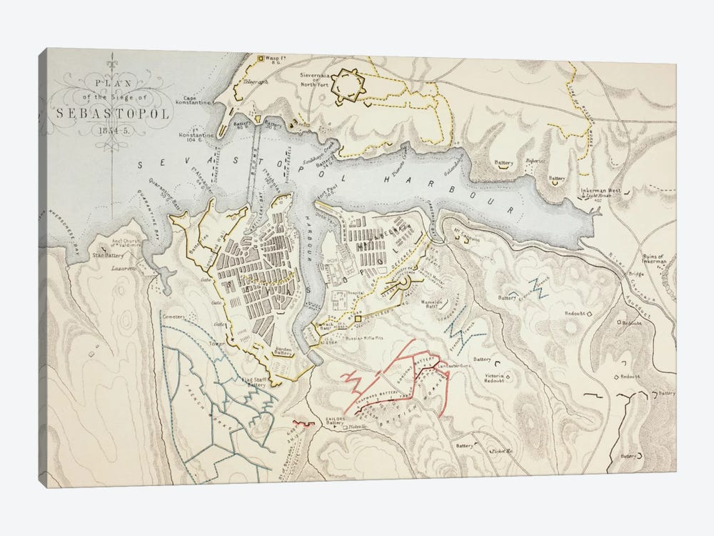 Plan of the Siege of Sebastopol, 1883 by English School 1-piece Canvas Art