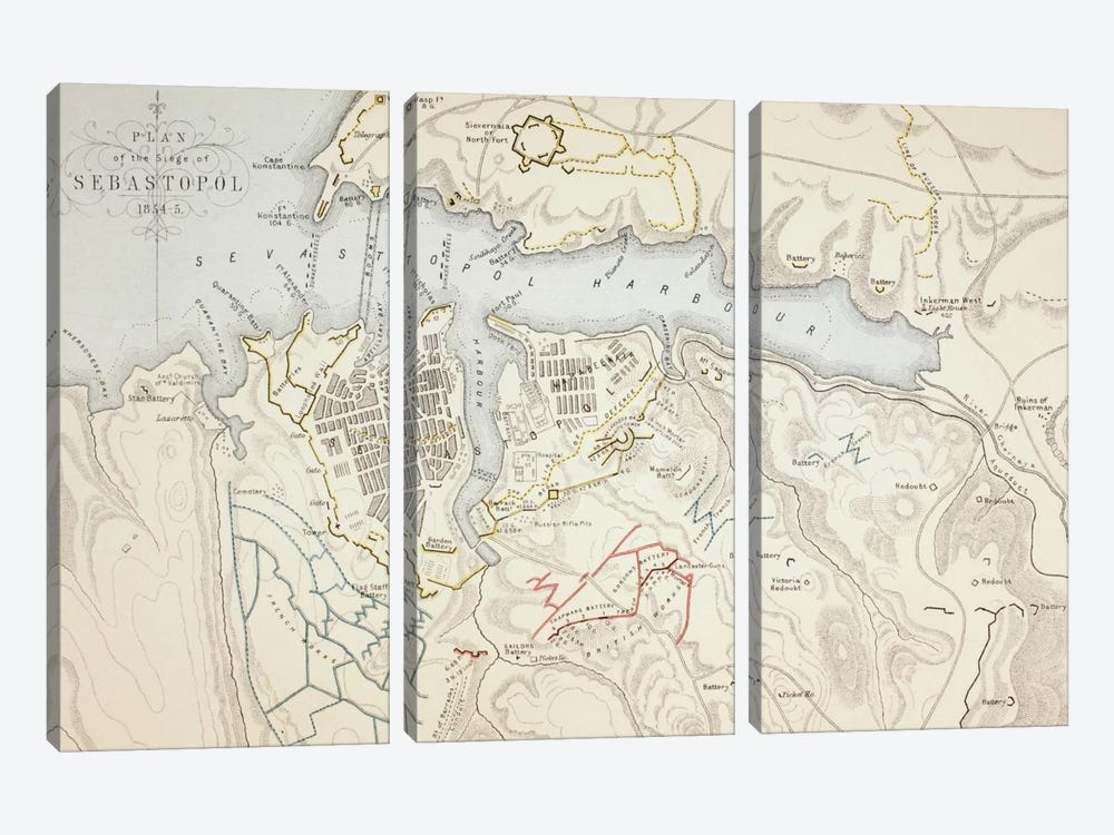 Plan of the Siege of Sebastopol, 1883 by English School 3-piece Canvas Wall Art