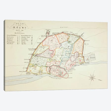 Plan of Delhi, 1883  Canvas Print #BMN5557} by English School Canvas Art