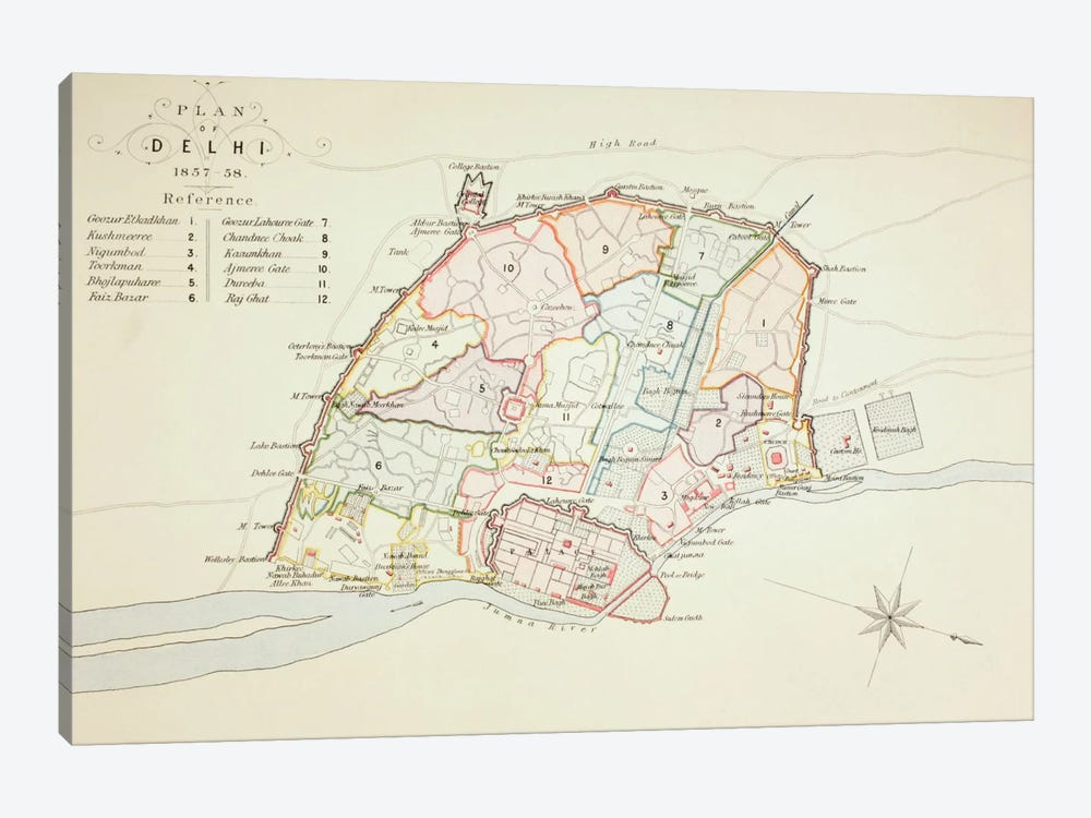 Plan of Delhi, 1883 by English School 1-piece Art Print