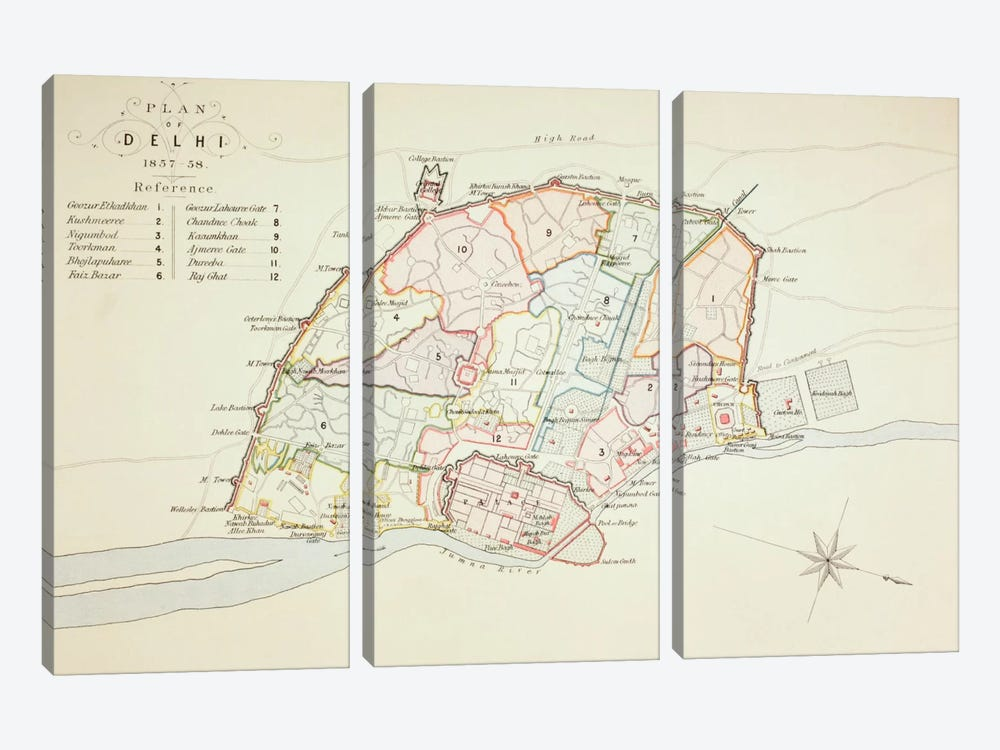 Plan of Delhi, 1883 by English School 3-piece Canvas Art Print
