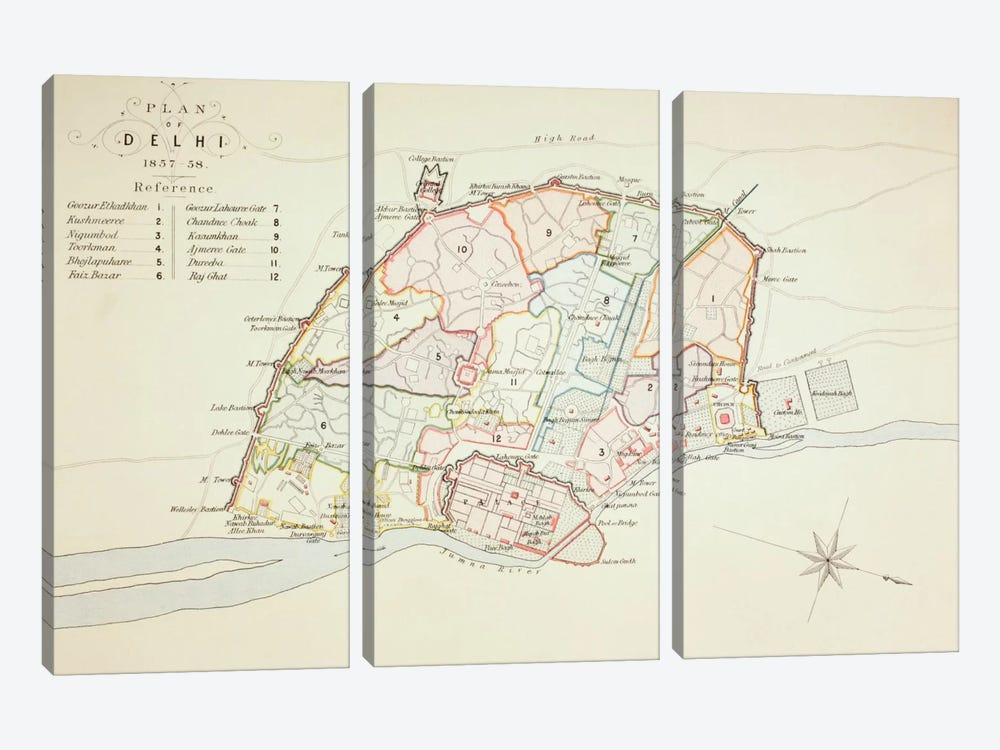 Plan of Delhi, 1883  by English School 3-piece Canvas Art Print
