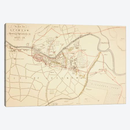 Plan of Lucknow, 1883  Canvas Print #BMN5558} by English School Canvas Print
