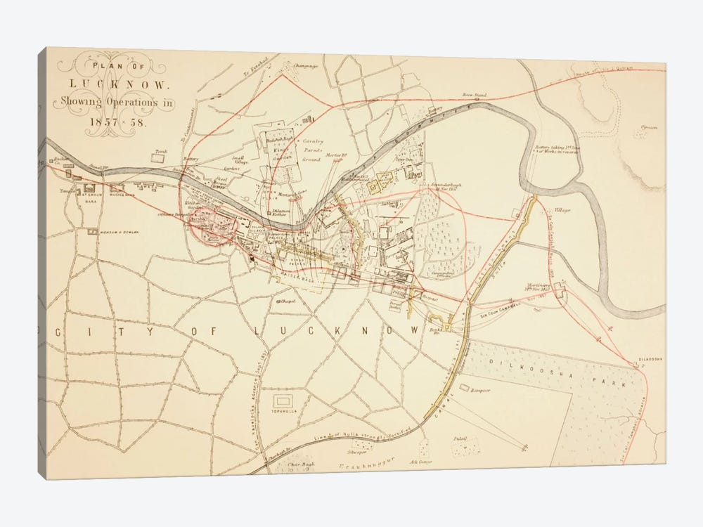 Plan of Lucknow, 1883 by English School 1-piece Canvas Wall Art