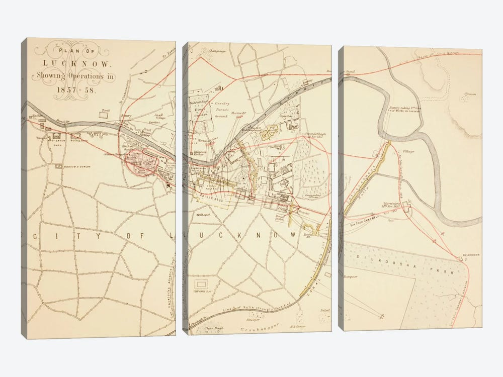 Plan of Lucknow, 1883  by English School 3-piece Canvas Wall Art