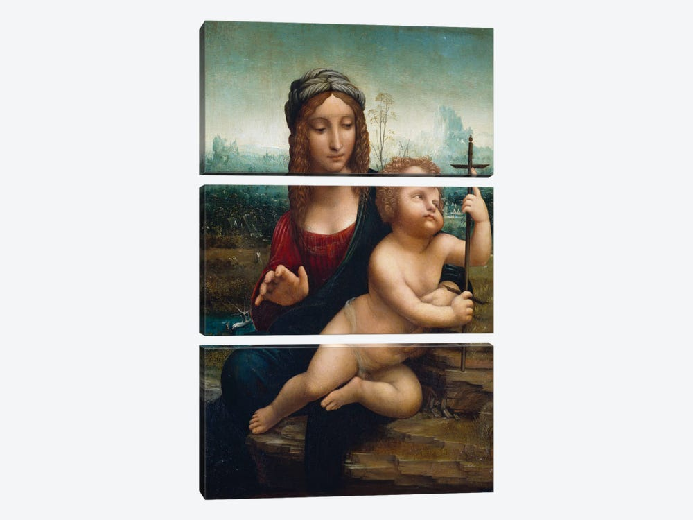 The Madonna of the Yarnwinder  by Leonardo da Vinci 3-piece Canvas Print