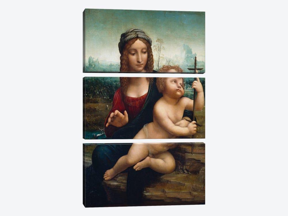 The Madonna of the Yarnwinder  by Leonardo da Vinci 3-piece Canvas Print