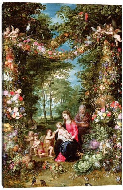 The Virgin and Child with the infant Saint John the Baptist, Saint Anne and angels, surrounded by a garland of flowers and fruit  Canvas Print #BMN5561