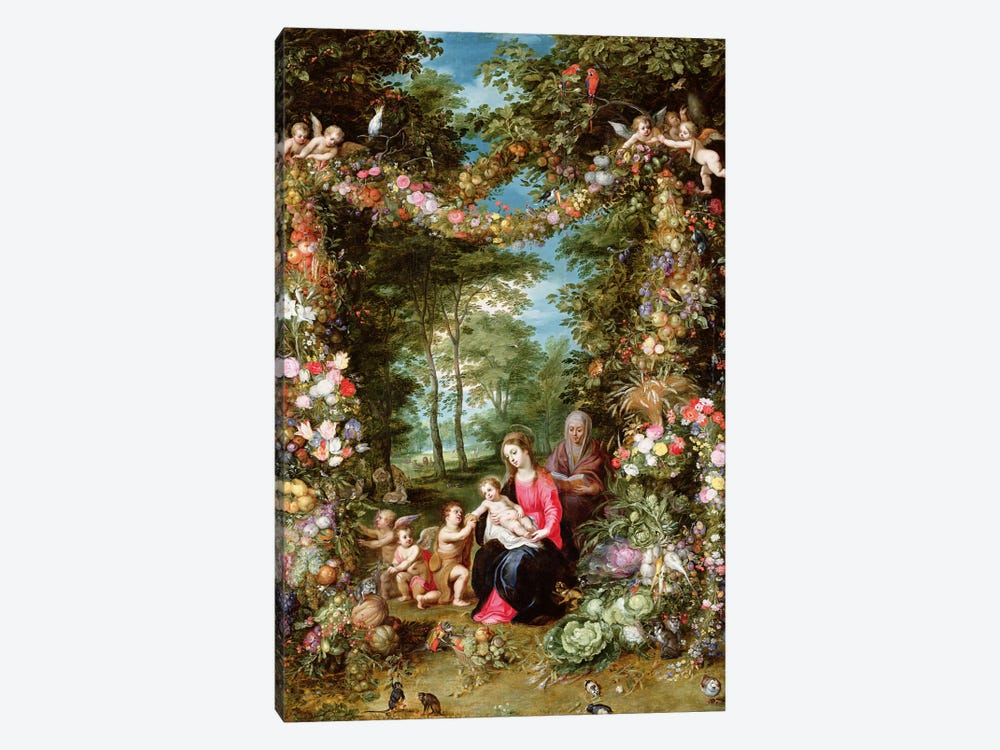 The Virgin and Child with the infant Saint John the Baptist, Saint Anne and angels, surrounded by a garland of flowers and fruit by Jan Brueghel 1-piece Canvas Art