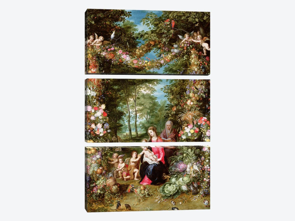 The Virgin and Child with the infant Saint John the Baptist, Saint Anne and angels, surrounded by a garland of flowers and fruit by Jan Brueghel 3-piece Canvas Artwork