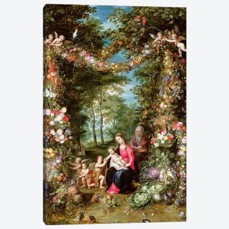 The Virgin And Child With The Infant St. John The Baptist, St. Anne And Angels Canvas Print #BMN5561} by Jan Brueghel Canvas Wall Art