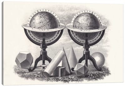 Globes of the Earth and the Heavens with Geometrical Forms  Canvas Art Print