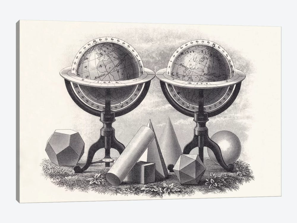 Globes of the Earth and the Heavens with Geometrical Forms  by English School 1-piece Canvas Wall Art