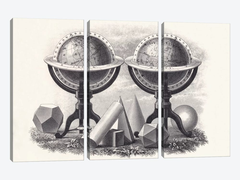 Globes of the Earth and the Heavens with Geometrical Forms  by English School 3-piece Canvas Artwork