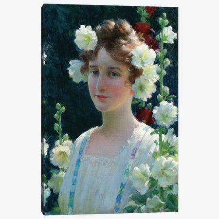 Among the Hollyhocks, 1904  Canvas Print #BMN5564} by Charles Courtney Curran Canvas Art Print