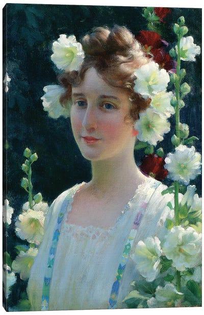 Among the Hollyhocks, 1904  Canvas Art Print