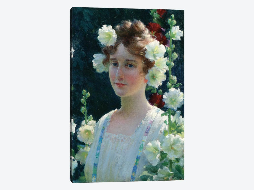 Among the Hollyhocks, 1904  by Charles Courtney Curran 1-piece Canvas Art Print