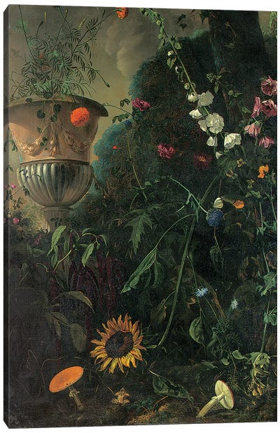 Hollyhocks, roses, a blue-lace flower, sunflower and toadstools, with marigolds in an urn by a tree  Canvas Art Print