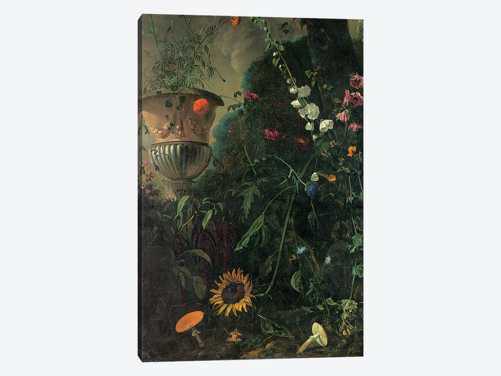 Hollyhocks, roses, a blue-lace flower, sunflower and toadstools, with marigolds in an urn by a tree  by Matthias Withoos 1-piece Art Print
