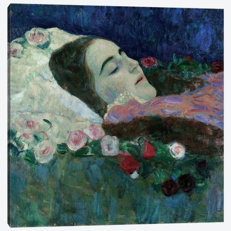 Ria Munk on her Deathbed, c.1910  Canvas Print #BMN5571} by Gustav Klimt Art Print