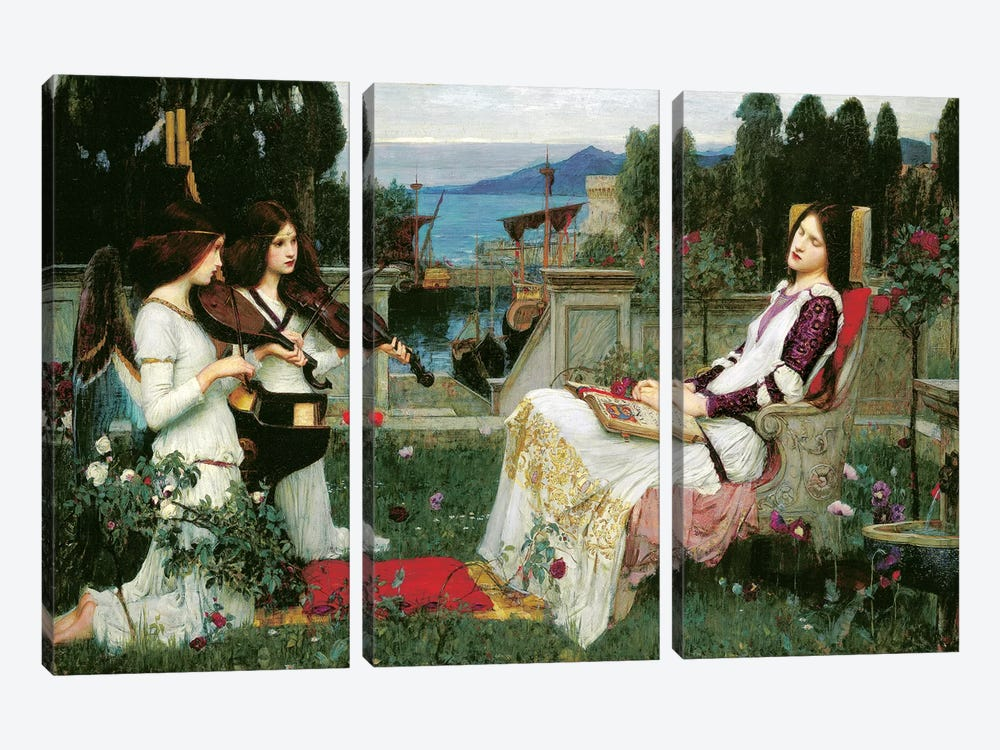 St. Cecilia by John William Waterhouse 3-piece Canvas Art