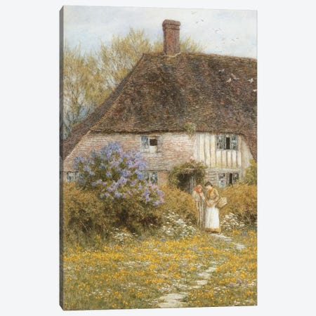 A Kentish Cottage  Canvas Print #BMN5573} by Helen Allingham Art Print