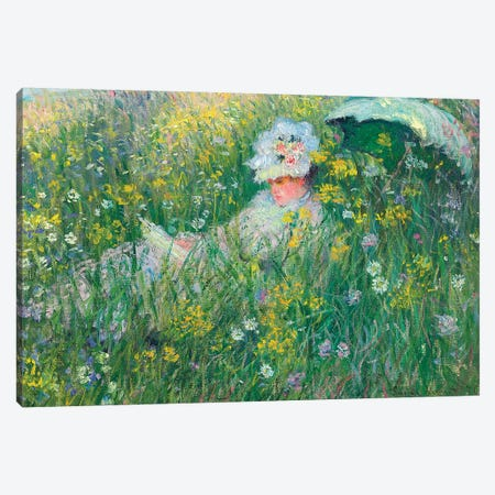 In the Meadow, 1876  Canvas Print #BMN5575} by Claude Monet Canvas Artwork