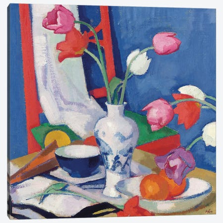Red Chair and Tulips, c.1919  Canvas Print #BMN5582} by Samuel John Peploe Canvas Wall Art