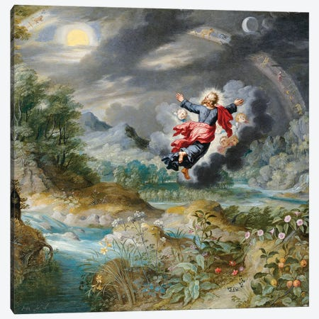 God Creating the Sun, the Moon and the Stars in the Firmament, c.1650  Canvas Print #BMN5591} by Jan Brueghel the Younger Canvas Print