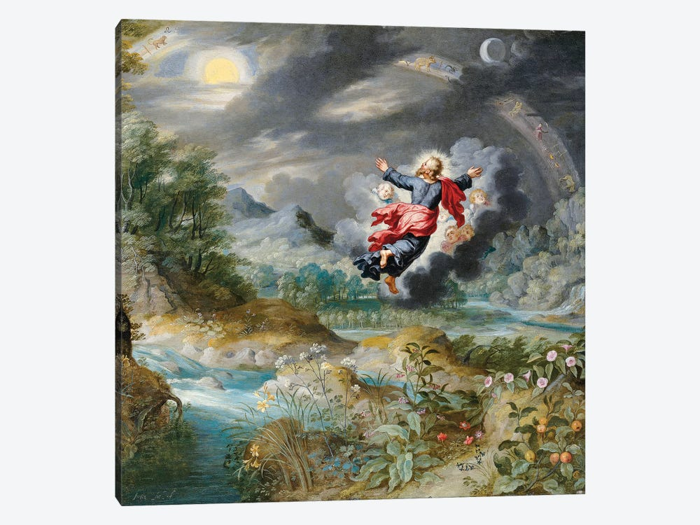 God Creating the Sun, the Moon and the Stars in the Firmament, c.1650  by Jan Brueghel the Younger 1-piece Canvas Print